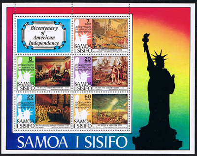 Samoa 1976 Bicentenary of American Independence Miniature Sheet Fine Mint