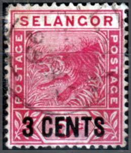 Stamps Selangor 1891 Tiger Surcharged Fine Used SG 53 Scott 28