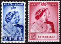 Stamps Seychelles King George VI Royal Silver Wedding Set