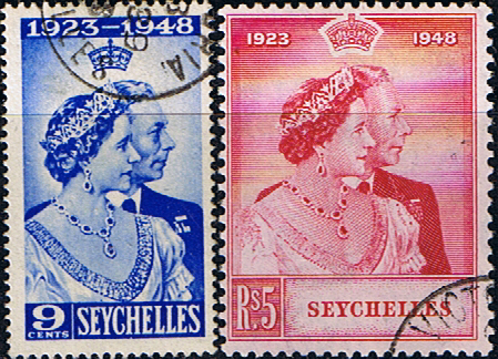 Stamps Seychelles King George VI Royal Silver Wedding Set Fine Used