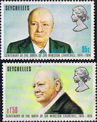 Seychelles 1974 Churchill Centenary Stamps