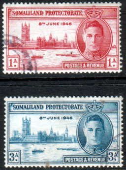 Somaliland Protectorate Stamps 1946 King George VI Victory Set Fine Used
