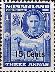 Stamps of Somaliland Protectorate 1951 King George VI Decimal Surcharged SG 127 Scott 118 Fine Mint