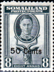Somaliland Protectorate 1951 King George VI Decimal Surcharged SG 130 Fine Mint