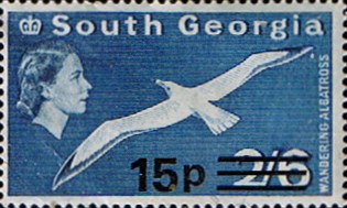 Stamp Stamps South Georgia 1971 Wandering Albatros Surcharged SG 64 Fine Mint Scott 28