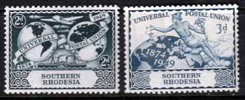 Southern Rhodesia Stamps 1949 Universal Postal Union Set Fine Mint