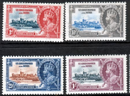 St Christopher and Nevis Stamps 1935 King George V Silver Jubilee Set Fine Mint