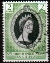 St Christopher Nevis Anguilla Queen Elizabeth II 1953 Coronation Fine Used