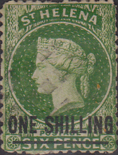 St Helena 1868 Queen Victoria Surcharged SG 17 Used