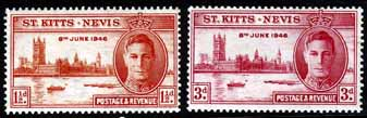 Stamps St Kitts and Nevis 1946 King George VI Victory Set Fine Mint