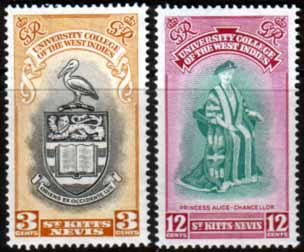 Stamp Stamps St Kitts and Nevis 1951 British West Indies University College Set Fine Mint