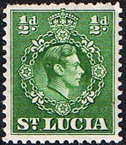 Postage Stamp Stamps St Lucia 1938 King George VI SG 128 Fine Used SG Scott 110a