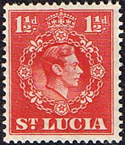 Stamps St Lucia 1938 King George VI SG 130 Fine Used Scott 113a