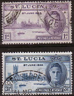 St Lucia Stamps 1946 King George VI Victory Set Fine Used