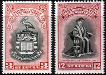 Stamps Stamp St Lucia 1951 British West Indies University College Set Fine Mint