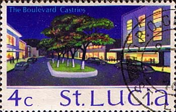 Postage Stamps St Lucia 1970 SG 278 The Boulevard, Castries Fine Used Scott 263
