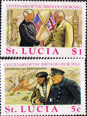 St Lucia 1974 Churchill Centenary Stamps