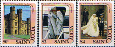Stamp Stamps 1982 St Lucia Diana 21st Birthday Set Fine Mint
