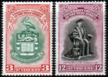 Postage Stamp Stamp St Vincent 1951 British West Indies University College Set Fine Mint