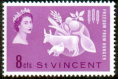 Stamps St Vincent 1963 Freedom From Hunger Fine Mint