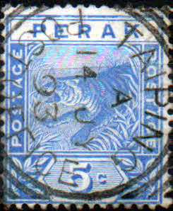 Stamps Malay State of Perak 1892 Tiger SG 64 Fine Used Scott 45