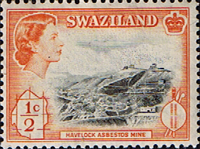 African Stamps Swaziland 1961 Havelock Mine Fine Mint SG 78 Scott 42