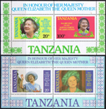 Stamp Stamps Tanzania 1985 Queen Mothers 85th Birthday Miniature Sheets Set    Fine Mint