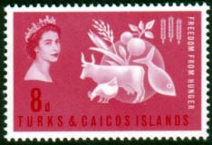 Turks and Caicos Islands 1963 Freedom From Hunger Stamps