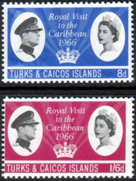 Turks and Caicos Islands 1966 Caribbean Royal Visit Set Fine Mint