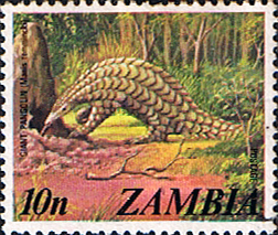 Postage stamps of Zambia 1975 SG 233 Temminck's Ground Pangolin Fine Used Scott 139