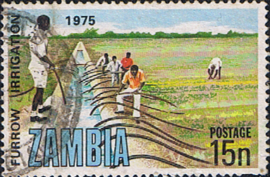 Postage stamps of Zambia 1975 SG 246 Irrigation and Drainage Fine Used Scott 155