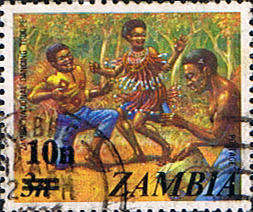 Postage stamps of Zambia 1979 SG 280 National Dancing Troupe Fine Used Scott 189