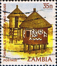 Postage stamps of Zambia 1981 Tonga Ila Granary and House SG 246 Fine Used Scott 248