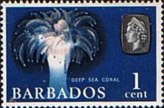 Stamps of Barbados 1966 QE II SG 342 Marine Life Deep Sea Coral Fine Mint
