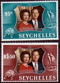 Postage Stamps 1972 Seychelles Royal Silver Wedding Set Fine Mint