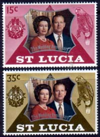 1972 St Lucia Royal Silver Wedding Stamps