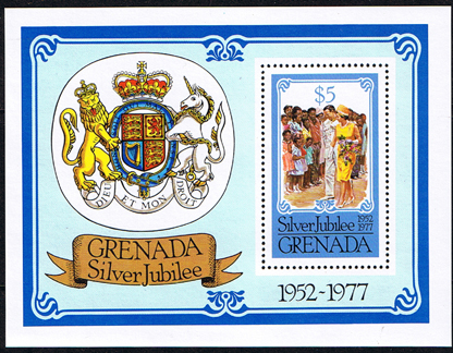 1977 Grenada Royal Silver Jubilee Mini Sheet Fine Mint