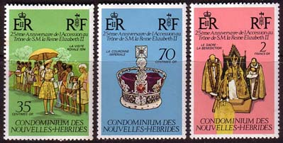 Postage Stamps 1977 New Hebrides French Royal Silver Jubilee Set Fine Mint