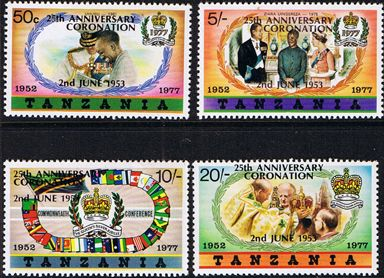 Stamps 1978 Tanzania Coronation 25th Anniversary Set Fine Mint Type B
