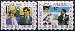 Postage Stamp 1981 Bahamas Charles and Diana Royal Wedding Set Fine Mint