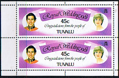 1981 Tuvalu Charles and Diana Royal Wedding 45c Booklet Pane Fine Mint