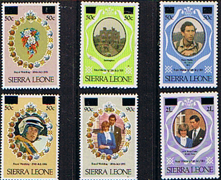 1982 Sierra Leone Charles and Diana Royal Wedding Surcharged Set Fine Mint