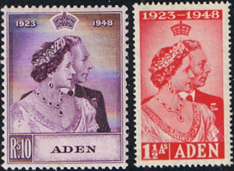 Aden Stamps 1948 King George VI Royal Silver Wedding Set Fine Mint