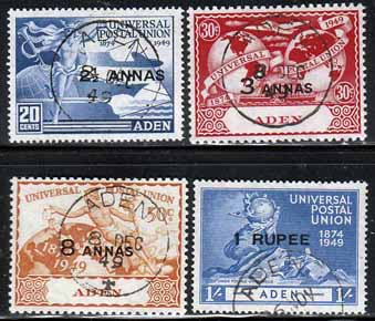 letter stamp stamps of postage stamps aden 1949 upu set used 23154