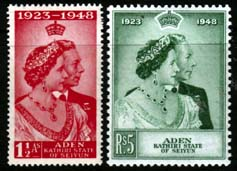 Aden Seiyun Stamps 1948 Royal Silver Wedding