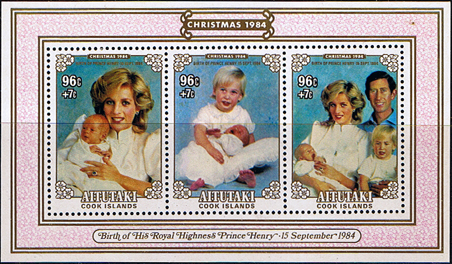 Stamps Cook Islands Aitutaki Island 1984 Birth of Prince Henry Miniature Sheet Fine Mint