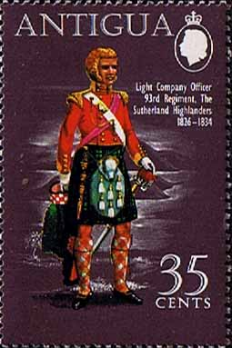 Antigua 1970 Military Uniforms SG 293 93rd Regiment Sutherland Highlanders 1826-34 Fine Mint