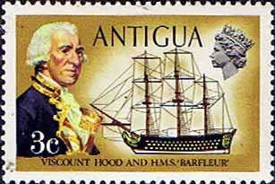 Antigua 1970 Ships and Captains SG 272w Viscount Hood and H.M.S. Barfleur Fine Mint