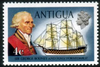 Antigua 1970 Ships and Captains SG 273 Sir George Rodney and H.M.S. Formidable Fine Mint