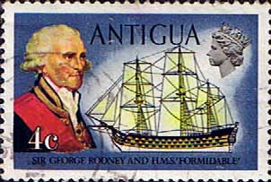 Antigua 1970 Ships and Captains SG 273 Sir George Rodney and H.M.S. Formidable Fine Used